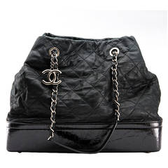Chanel Black Glazed Quilted Calfskin Large Charm Tote Bag