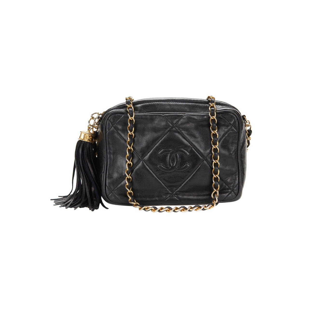 1990's Chanel Black Lambskin Vintage Camera Tassel Bag For Sale