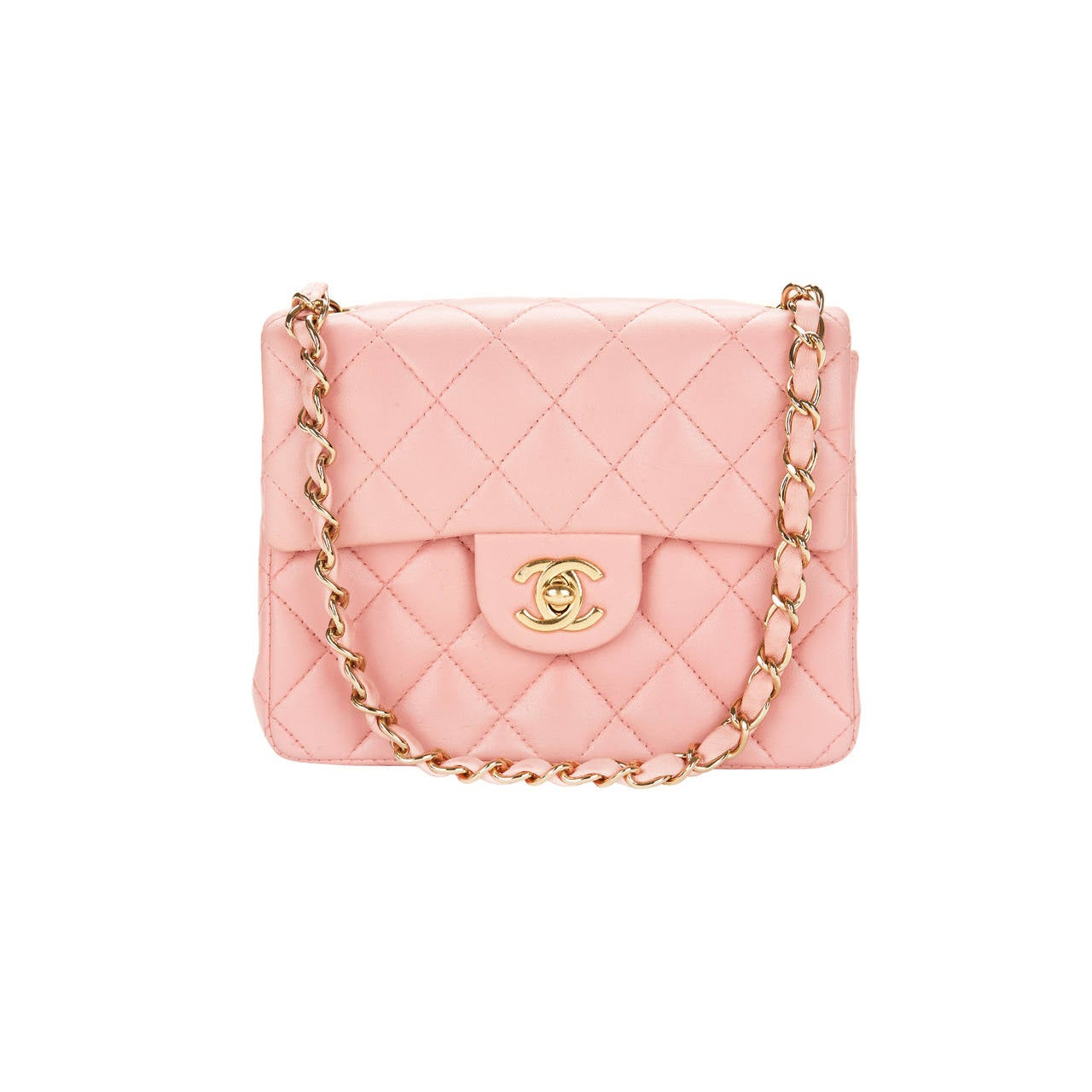 1990s Chanel Pink Lambskin Vintage Mini Flap Bag 1