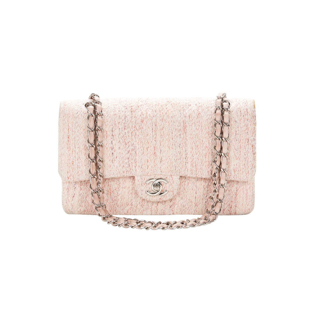 1990's Chanel Pink Multi-Tweed & Pink Leather Vintage Double Flap Bag 1