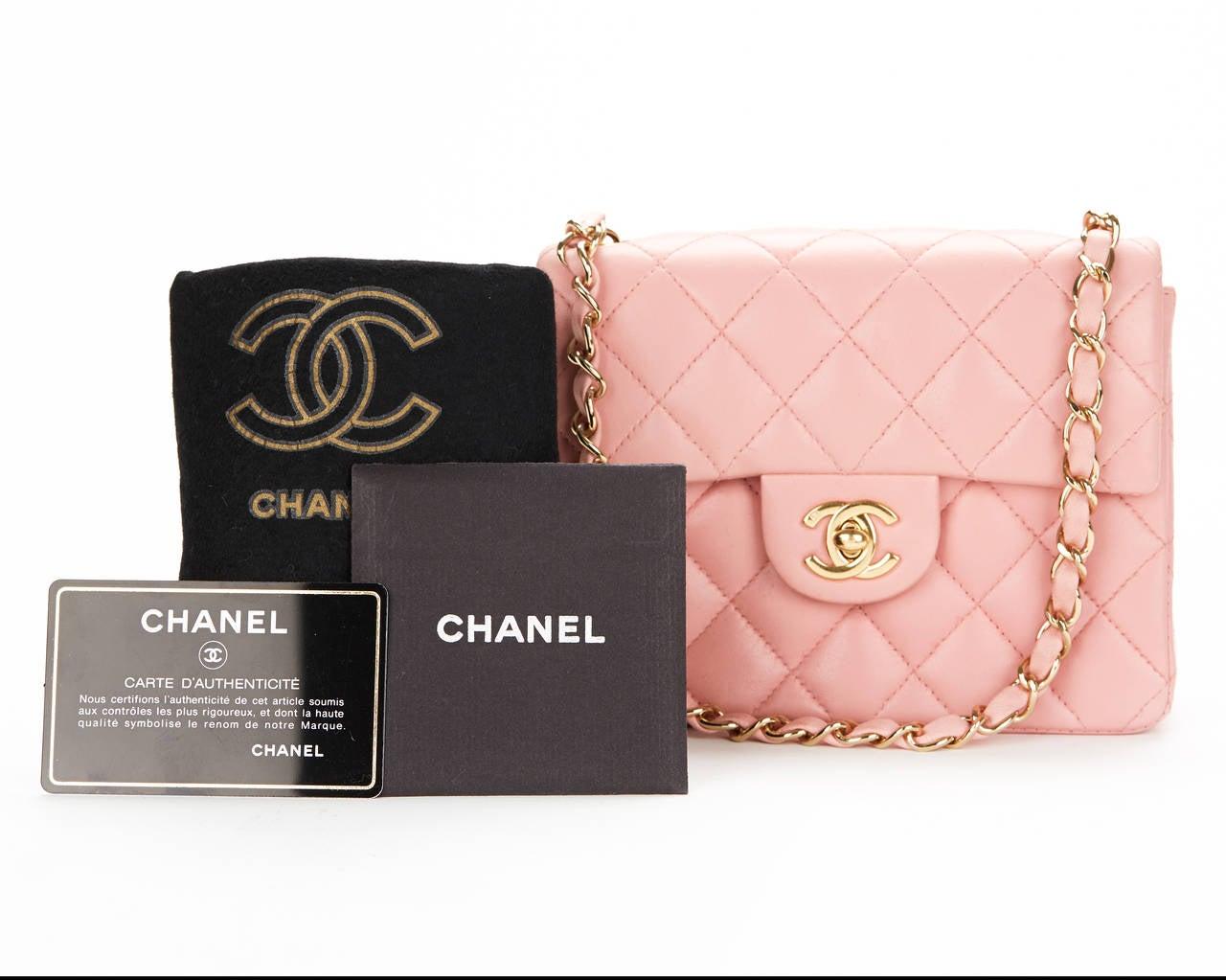 1990s Chanel Pink Lambskin Vintage Mini Flap Bag 10