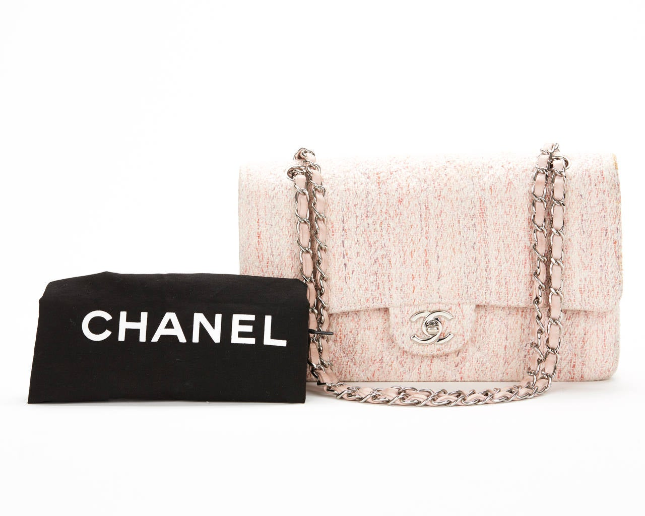 1990's Chanel Pink Multi-Tweed & Pink Leather Vintage Double Flap Bag 10