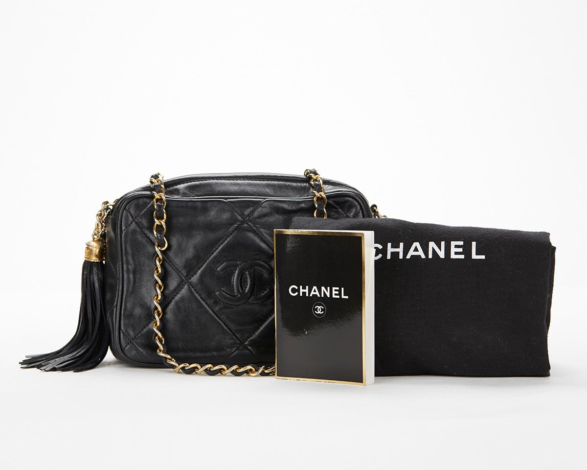 1990's Chanel Black Lambskin Vintage Camera Tassel Bag For Sale 6