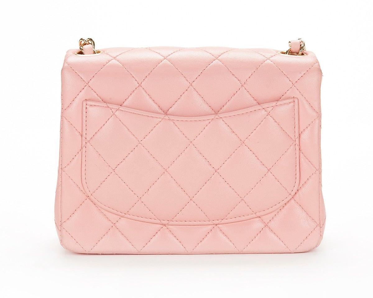 1990s Chanel Pink Lambskin Vintage Mini Flap Bag 2