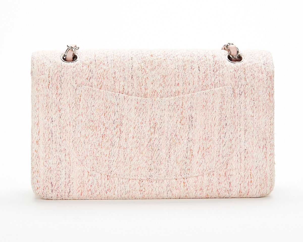 1990's Chanel Pink Multi-Tweed & Pink Leather Vintage Double Flap Bag 2