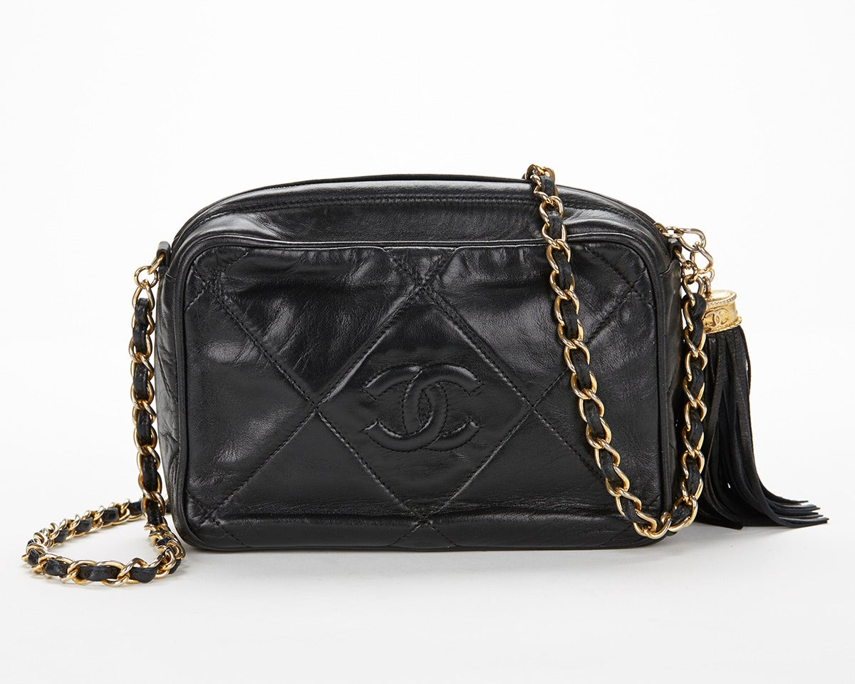 1990's Chanel Black Lambskin Vintage Camera Tassel Bag 2