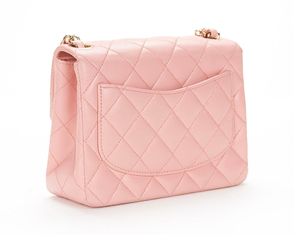 1990s Chanel Pink Lambskin Vintage Mini Flap Bag 3