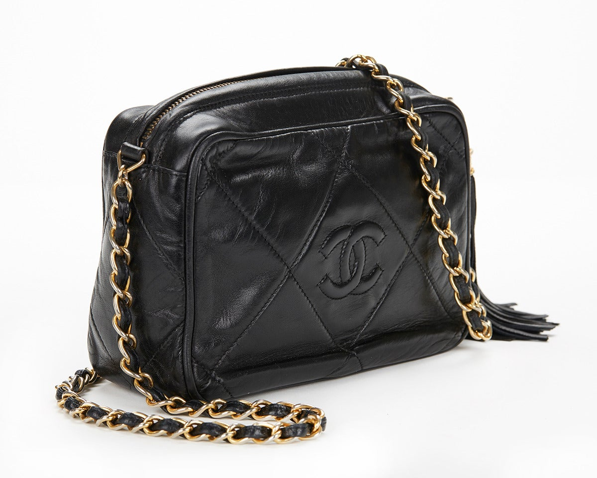 1990's Chanel Black Lambskin Vintage Camera Tassel Bag 3