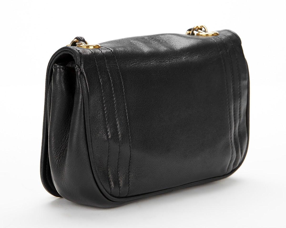 1990's Chanel Black Lambskin Vintage Flap Bag 4