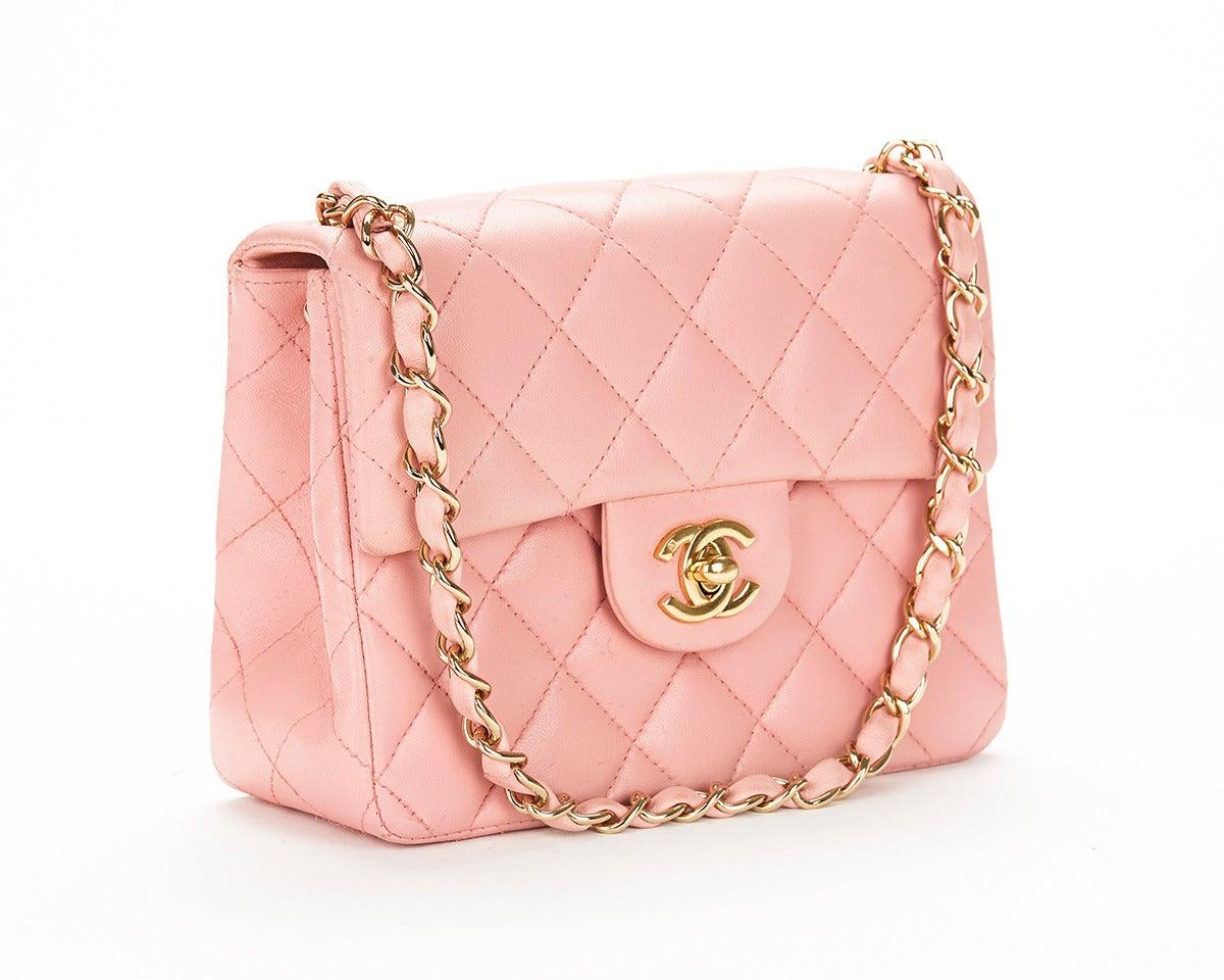 1990s Chanel Pink Lambskin Vintage Mini Flap Bag 4