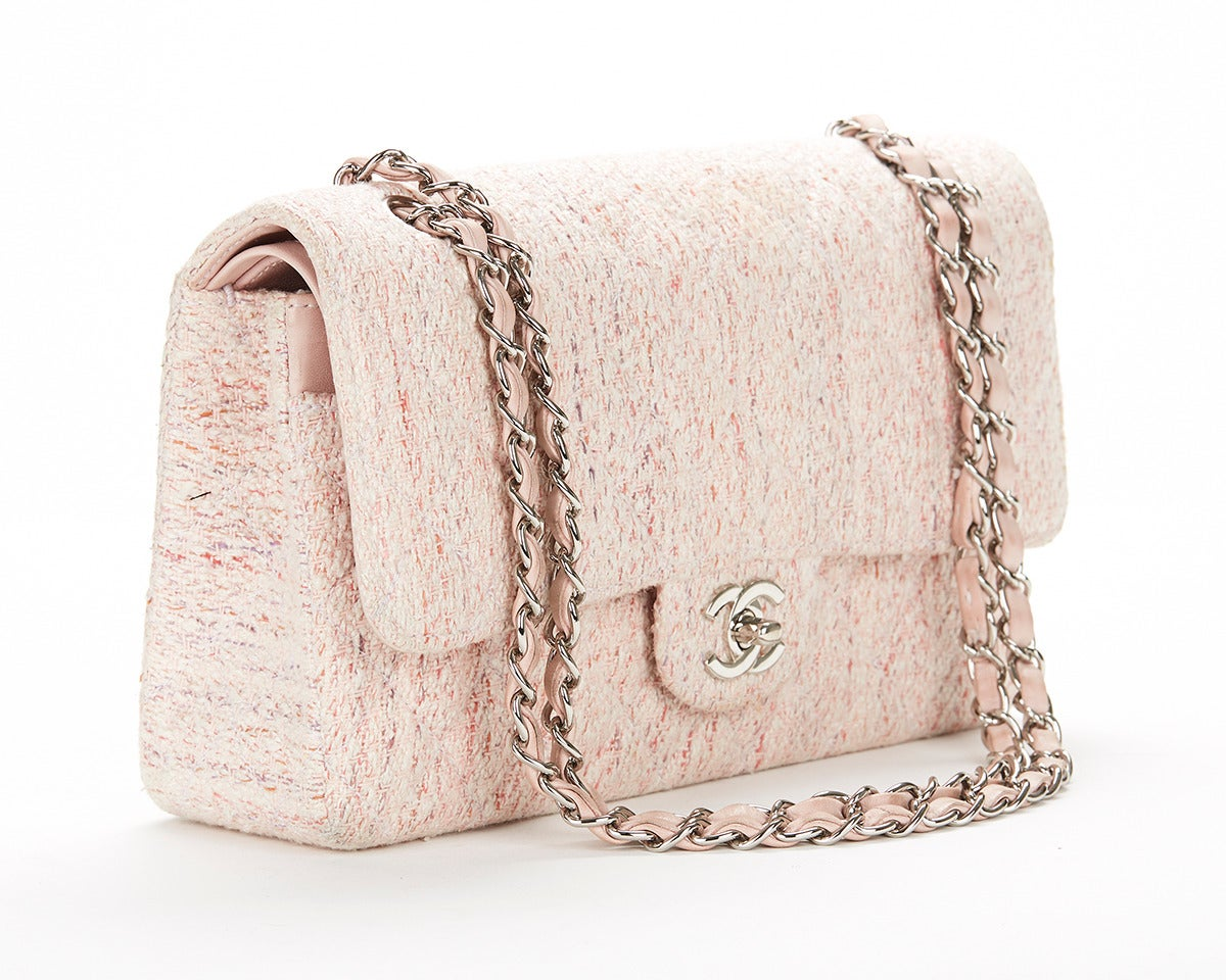 1990's Chanel Pink Multi-Tweed & Pink Leather Vintage Double Flap Bag 4
