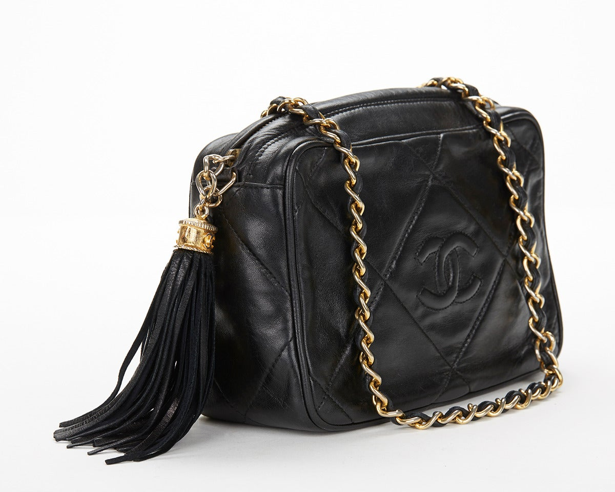 1990's Chanel Black Lambskin Vintage Camera Tassel Bag 4