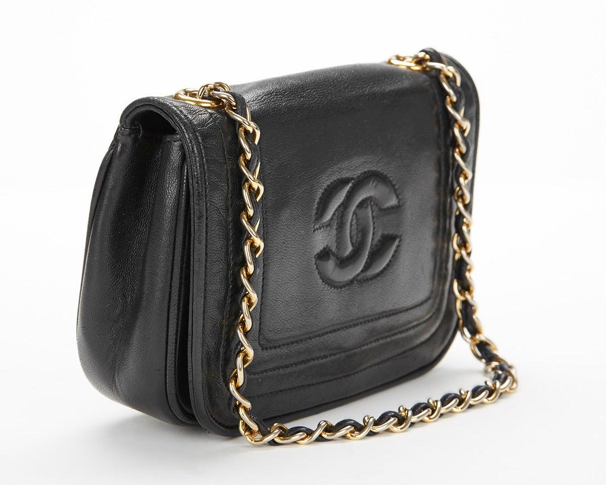 1990's Chanel Black Lambskin Vintage Flap Bag 3
