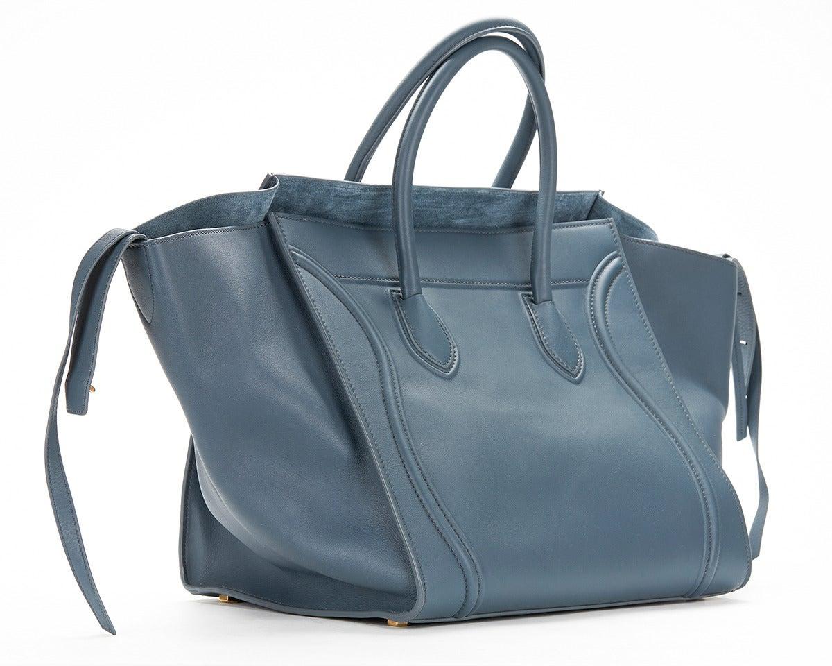 Celine Slate Blue Supple Calfskin Large Phantom Luggage Tote at ...