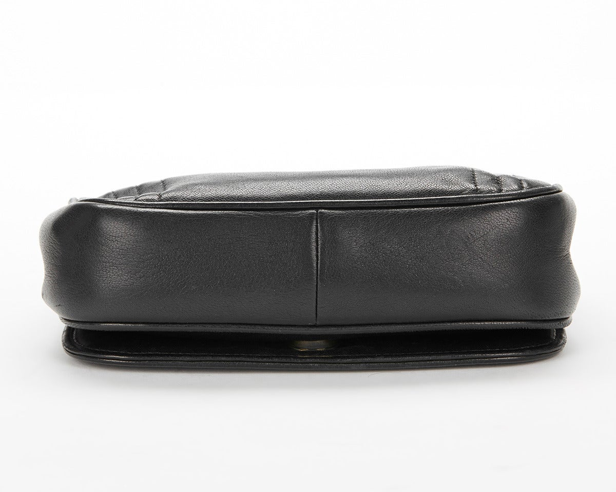 1990's Chanel Black Lambskin Vintage Flap Bag 5