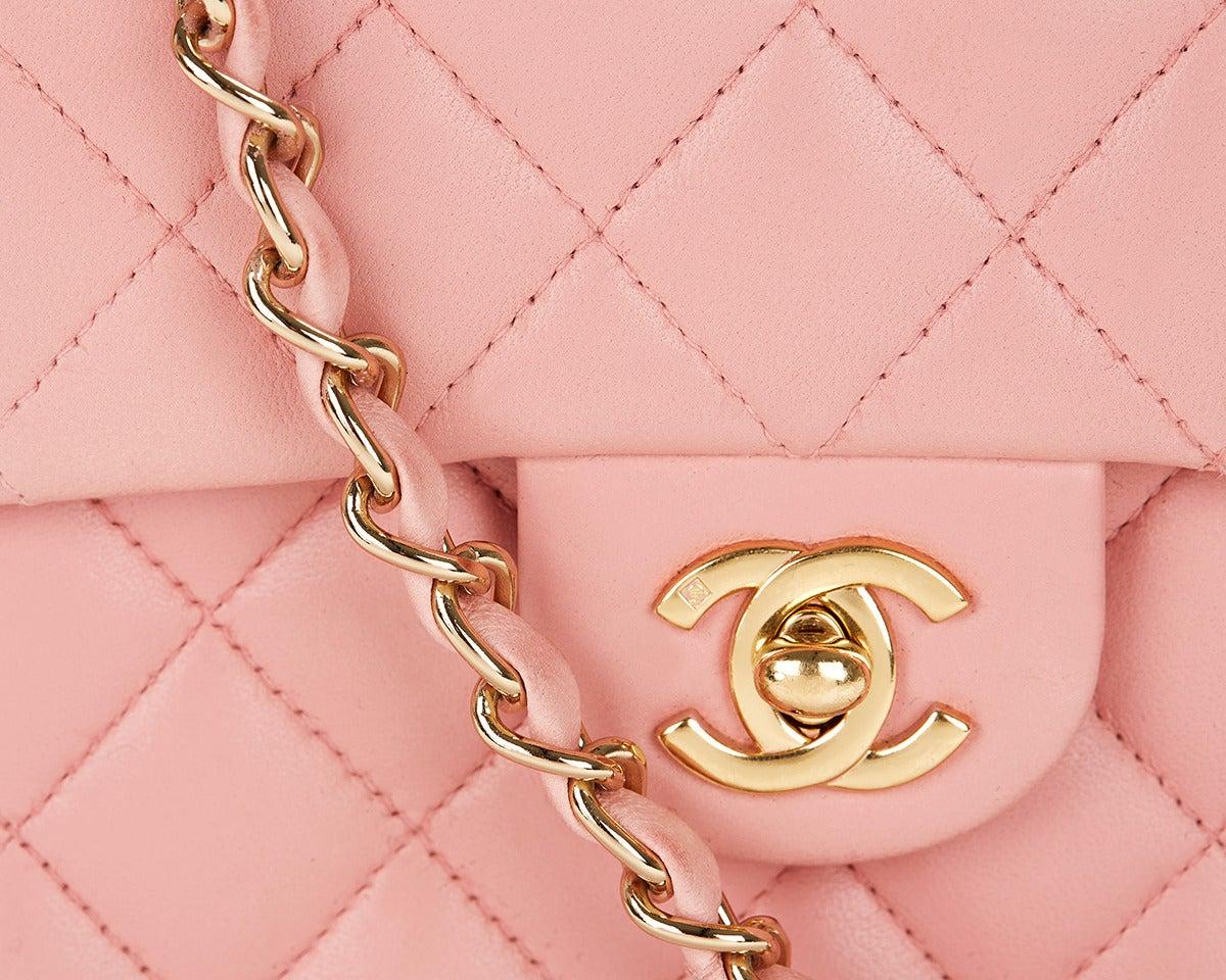 1990s Chanel Pink Lambskin Vintage Mini Flap Bag 6
