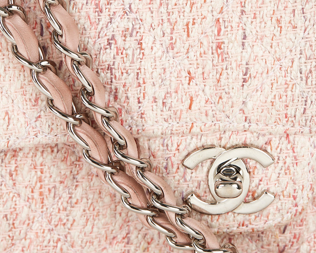 1990's Chanel Pink Multi-Tweed & Pink Leather Vintage Double Flap Bag 6