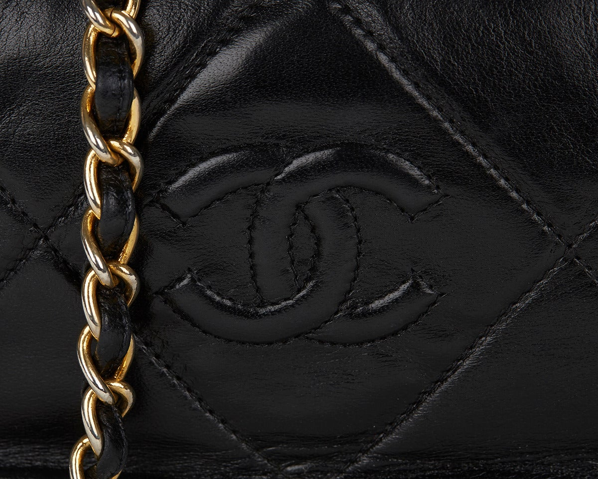 1990's Chanel Black Lambskin Vintage Camera Tassel Bag For Sale 3
