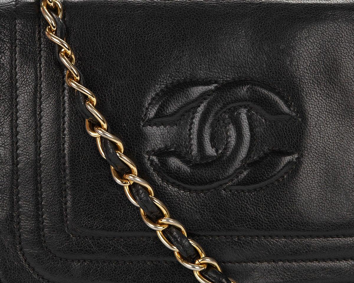 1990's Chanel Black Lambskin Vintage Flap Bag 6