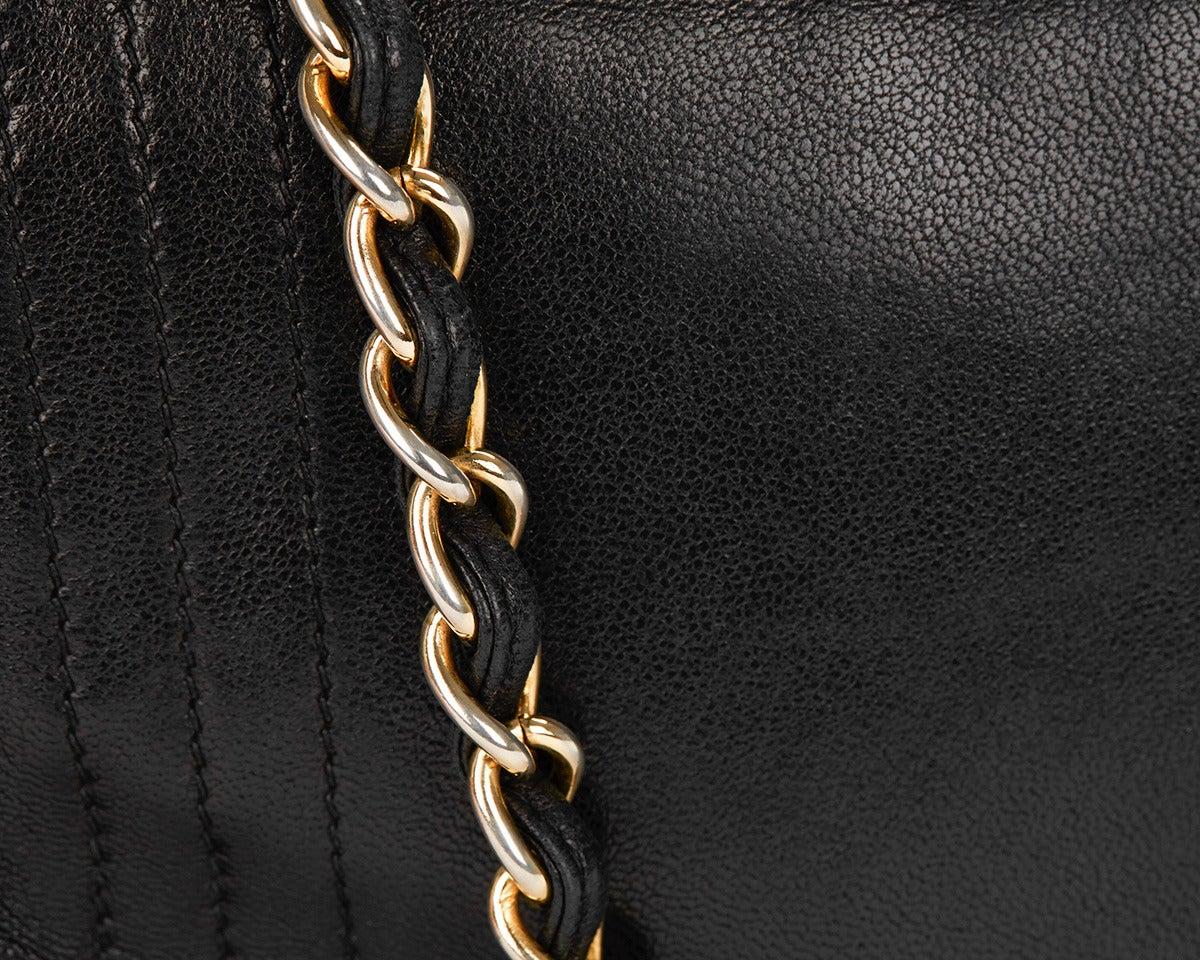 1990's Chanel Black Lambskin Vintage Flap Bag 7