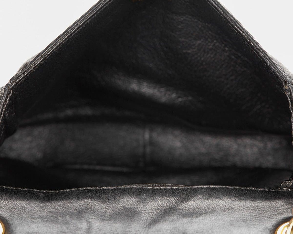 1990's Chanel Black Lambskin Vintage Flap Bag 9