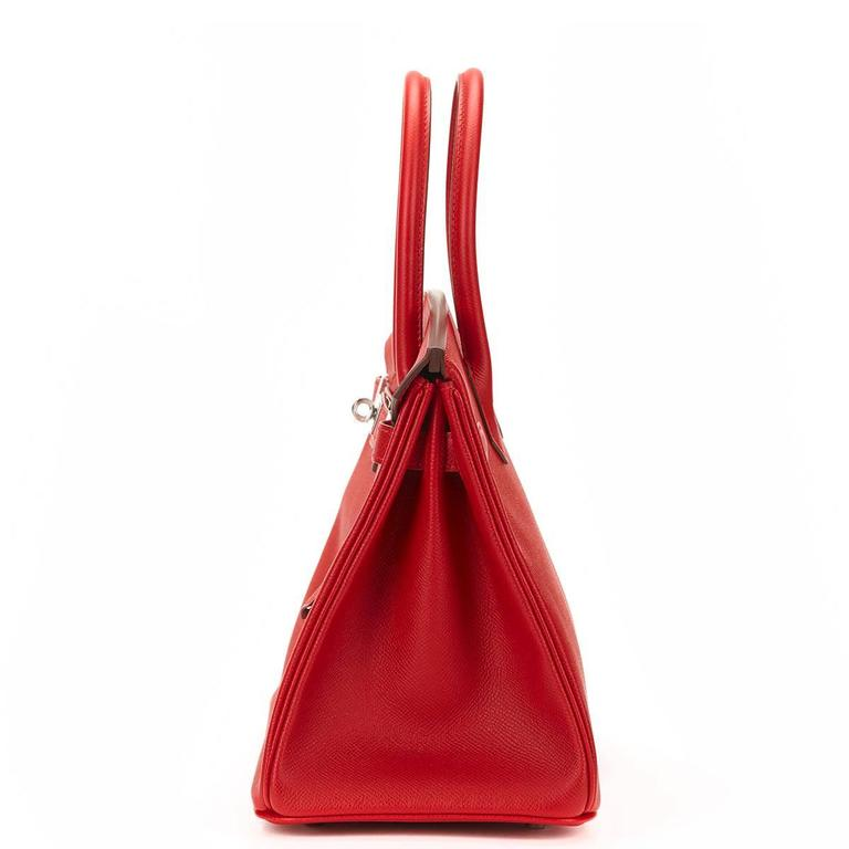 Red 2016 Hermes Rouge Casque Epsom Leather Birkin 30cm