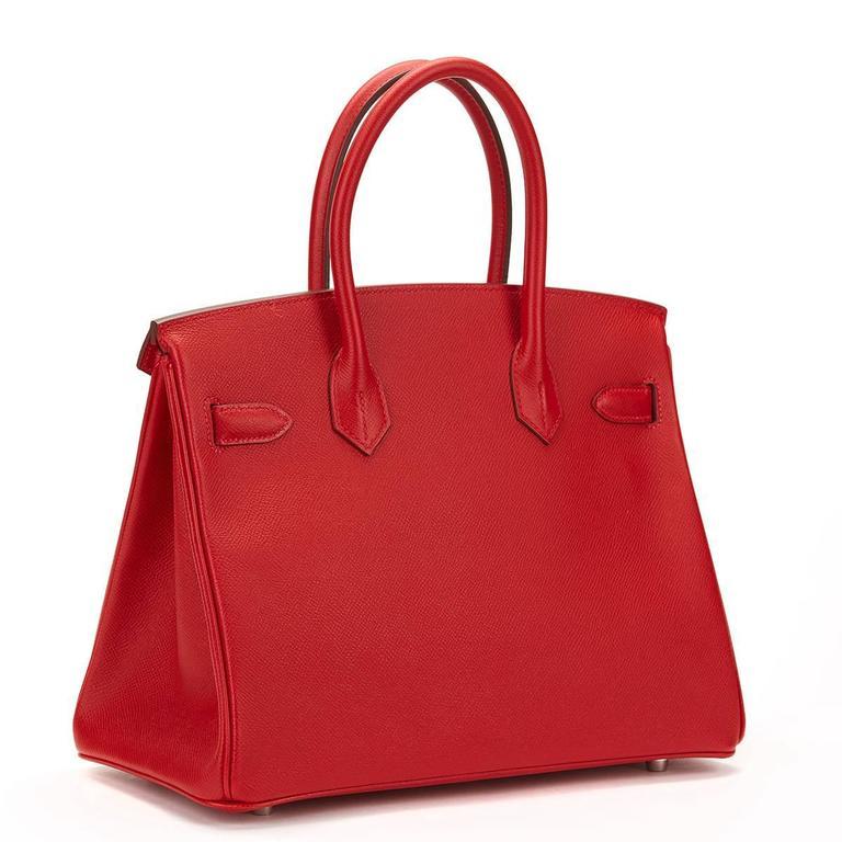 Women's 2016 Hermes Rouge Casque Epsom Leather Birkin 30cm