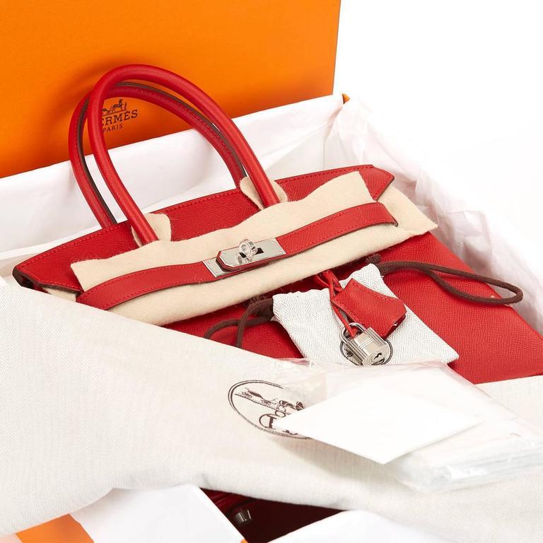 2016 Hermes Rouge Casque Epsom Leather Birkin 30cm 5