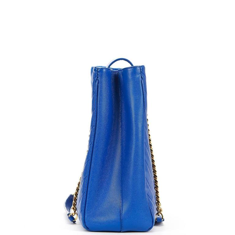 2014 Saint Laurent Electric Blue Textured Calfskin Large Monogram Tote In Excellent Condition For Sale In Bishop's Stortford, Hertfordshire