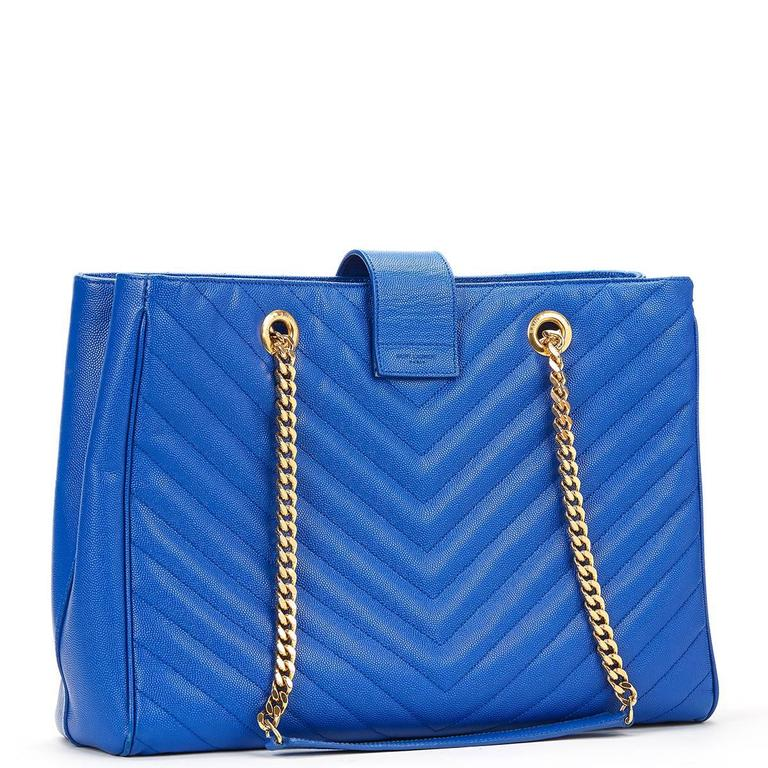 2014 Saint Laurent Electric Blue Textured Calfskin Large Monogram Tote For Sale 2