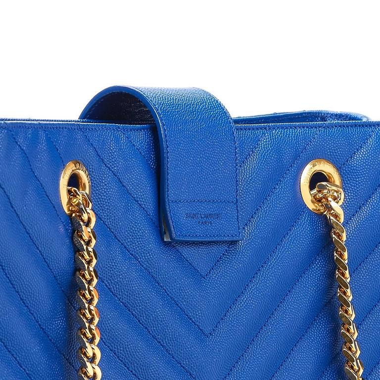 2014 Saint Laurent Electric Blue Textured Calfskin Large Monogram Tote For Sale 3