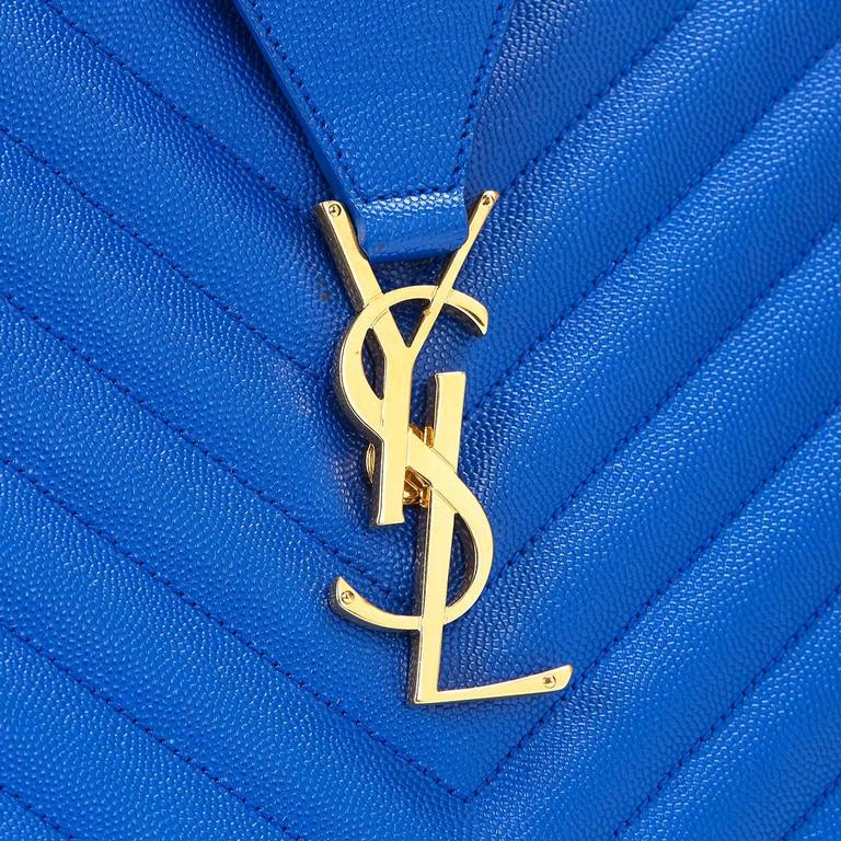 2014 Saint Laurent Electric Blue Textured Calfskin Large Monogram Tote For Sale 4