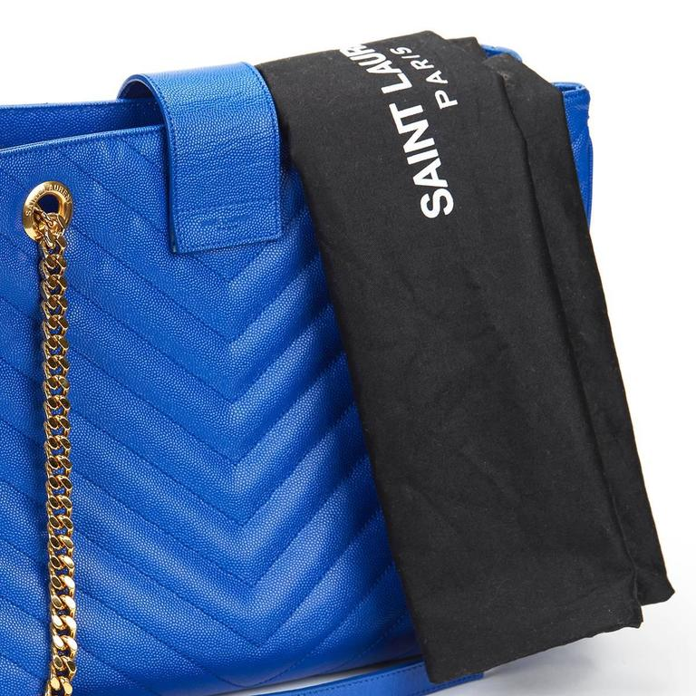 2014 Saint Laurent Electric Blue Textured Calfskin Large Monogram Tote For Sale 6