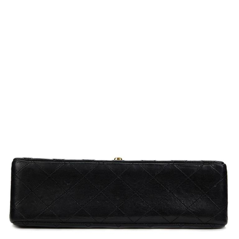 1980s Chanel Black Quilted Lambskin Vintage Small Classic Double Flap Bag 5
