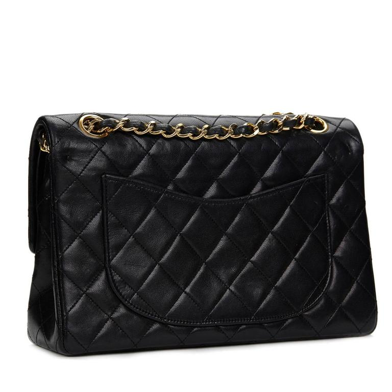 1980s Chanel Black Quilted Lambskin Vintage Small Classic Double Flap Bag 4