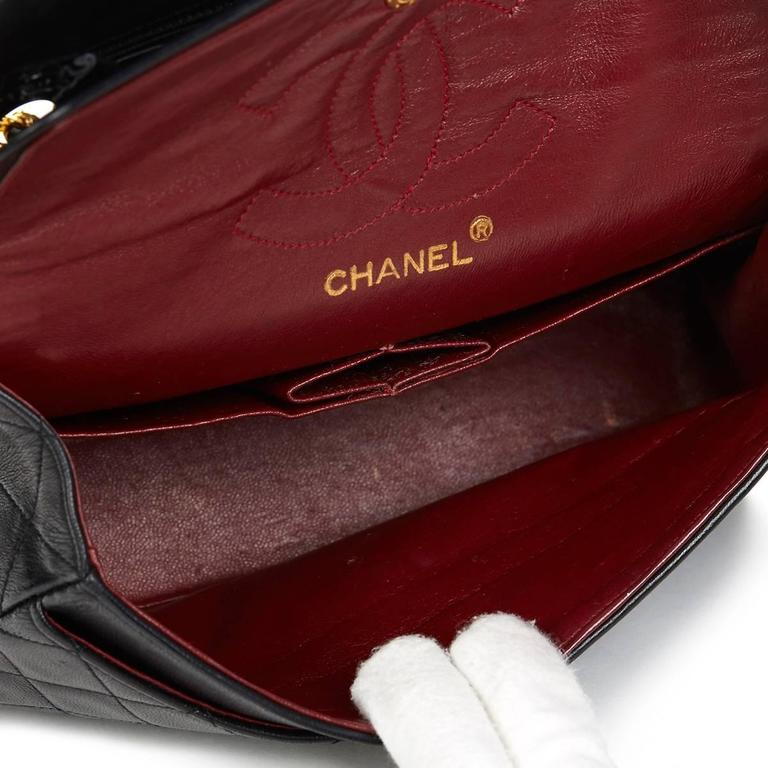 1980s Chanel Black Quilted Lambskin Vintage Small Classic Double Flap Bag 9