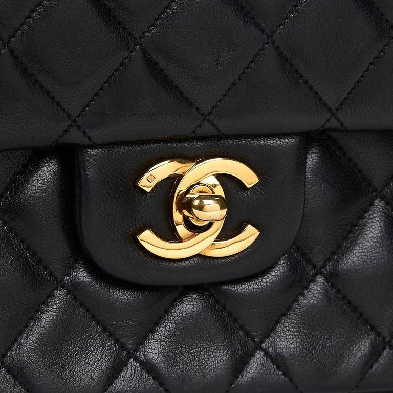 1980s Chanel Black Quilted Lambskin Vintage Small Classic Double Flap Bag 8
