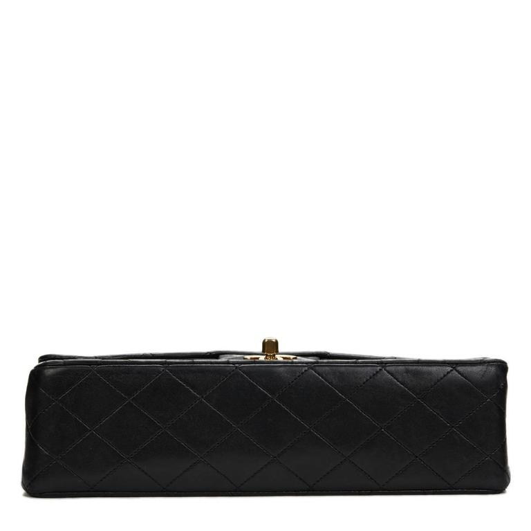Chanel Black Quilted Lambskin Vintage Medium Classic Double Flap Bag 1980s  For Sale 1