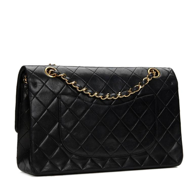 Women's Chanel Black Quilted Lambskin Vintage Medium Classic Double Flap Bag 1980s  For Sale