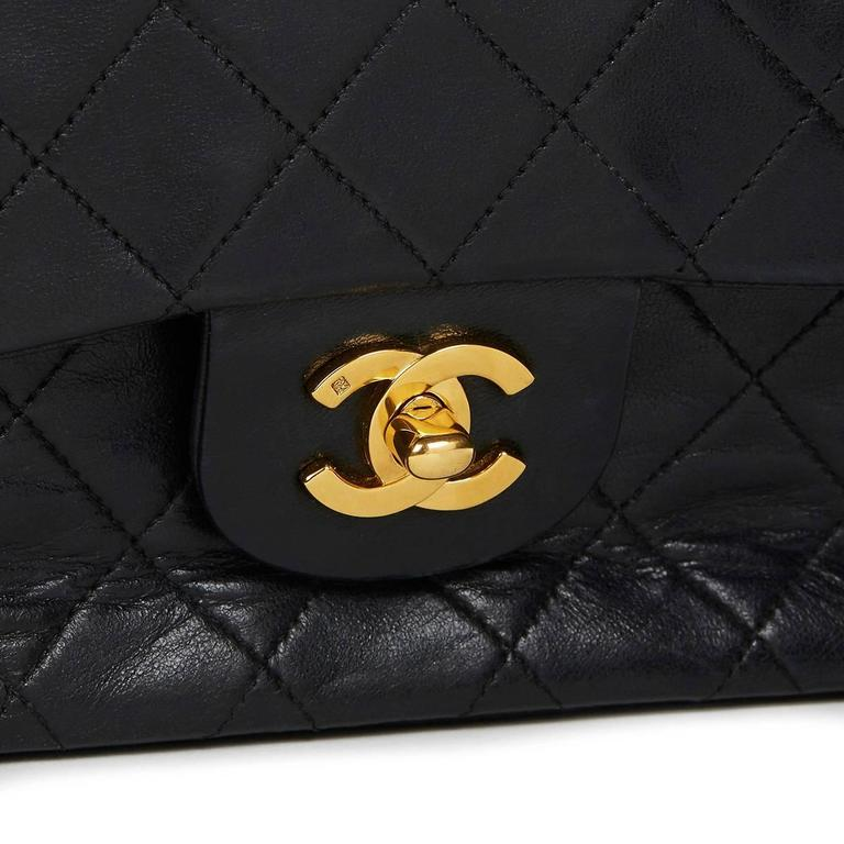 1990s Chanel Black Quilted Lambskin Vintage Medium Classic Double Flap Bag 6