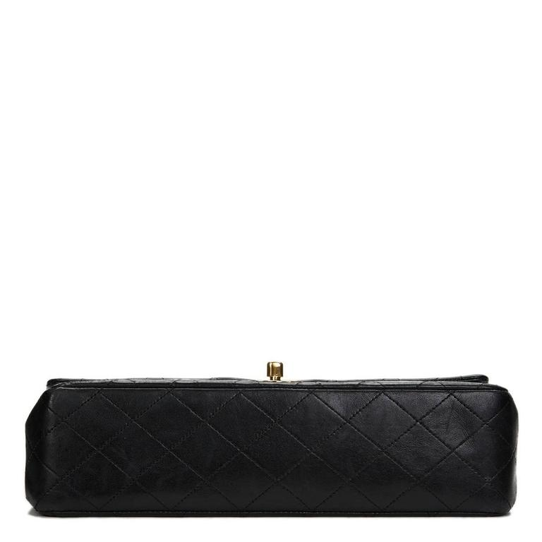 1990s Chanel Black Quilted Lambskin Vintage Medium Classic Double Flap Bag 4
