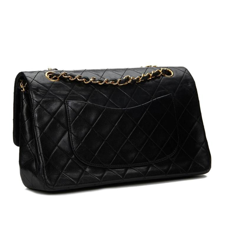 1990s Chanel Black Quilted Lambskin Vintage Medium Classic Double Flap Bag 5