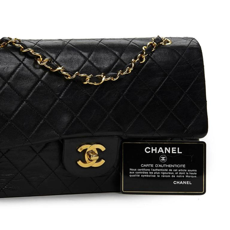 1990s Chanel Black Quilted Lambskin Vintage Medium Classic Double Flap Bag 9