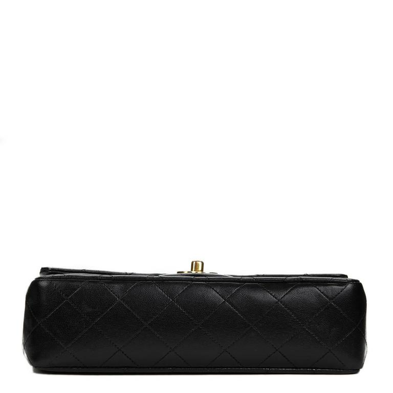 1990 Chanel Black Quilted Lambskin Vintage Small Classic Double Flap Bag For Sale 1