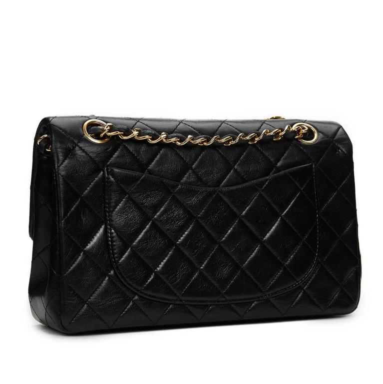 1990 Chanel Black Quilted Lambskin Vintage Small Classic Double Flap Bag In Good Condition For Sale In Bishop's Stortford, Hertfordshire