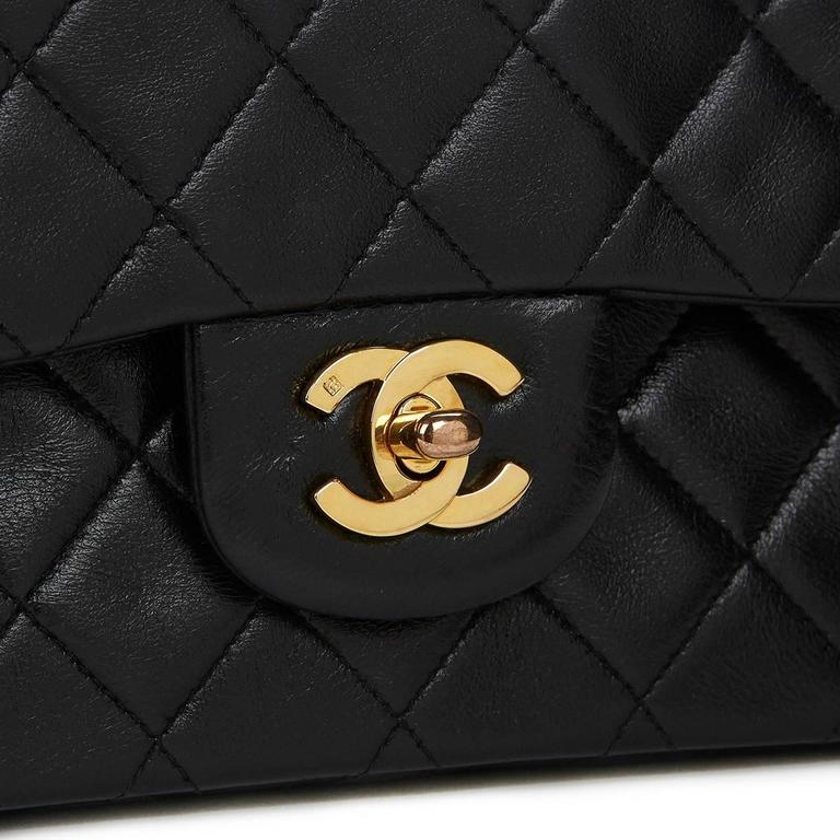 1990 Chanel Black Quilted Lambskin Vintage Small Classic Double Flap Bag For Sale 3