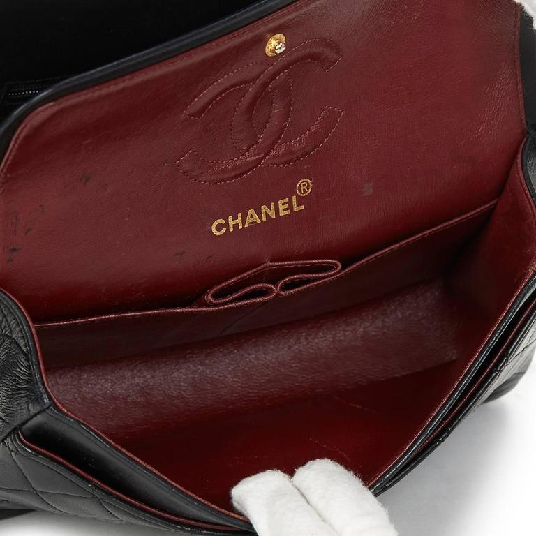 1990 Chanel Black Quilted Lambskin Vintage Small Classic Double Flap Bag For Sale 4