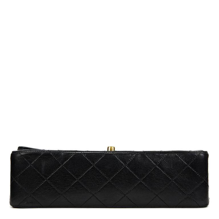 Chanel Black Quilted Lambskin Vintage Small Classic Double Flap Bag 1990s  For Sale 1