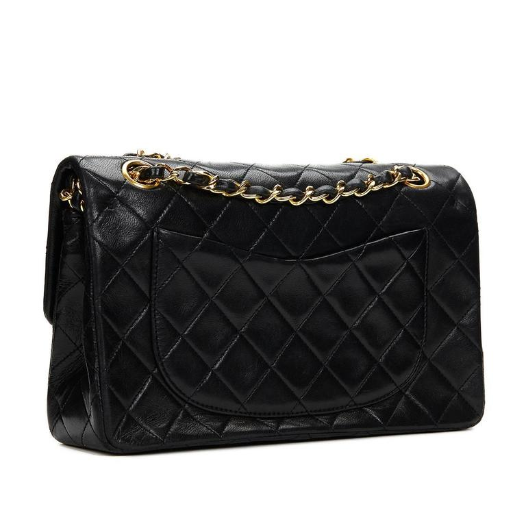 Women's Chanel Black Quilted Lambskin Vintage Small Classic Double Flap Bag 1990s  For Sale