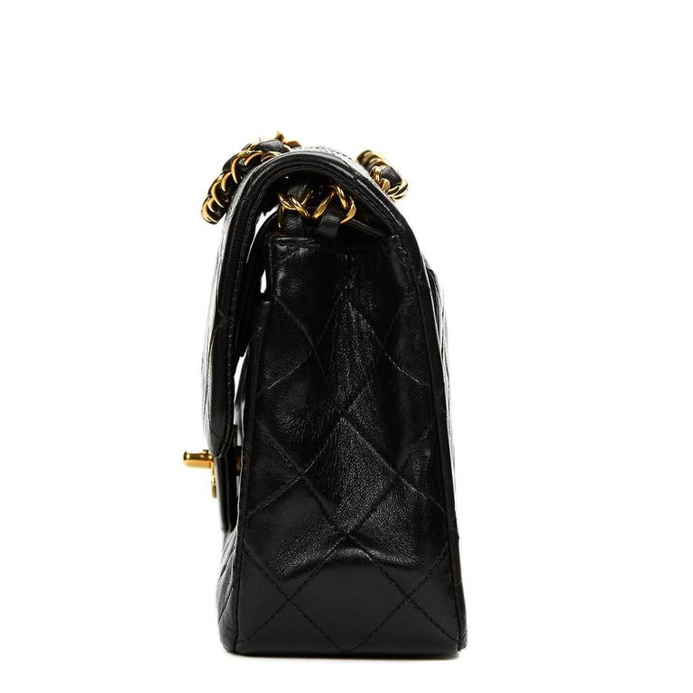 Chanel Black Quilted Lambskin Vintage Small Classic Double Flap Bag 1990s   2